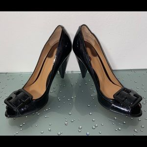 Chloe Black Patent Leather Peep Toe Stilettos 37.5